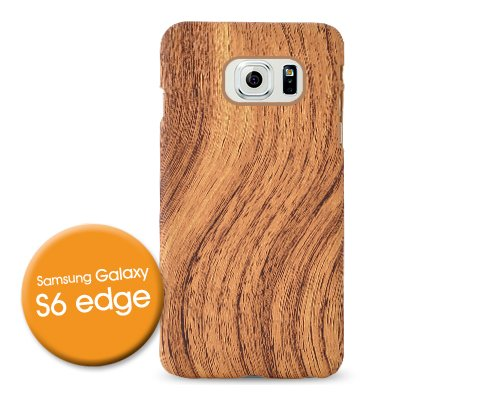 Wooden Series Wood Pattern Slim Thin PC Soft Hard Skin Case Cover for Samsung Galaxy S6 Edge + Touch Screen Stylus Pen - Brown