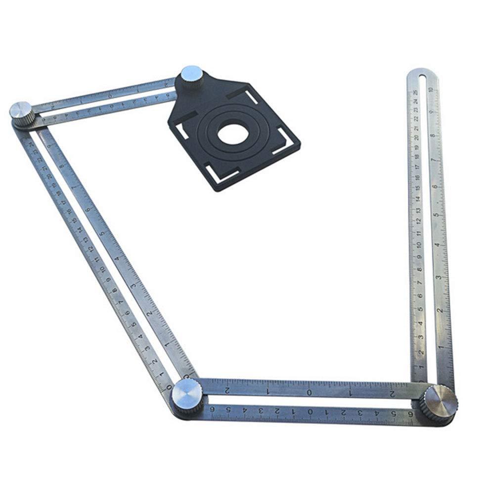 Ndier Modelli di misura multifunzionali Pratico quattro lati righello in acciaio inox Angleizer Multi-Angle Ruler Commercio Industria e Scienza