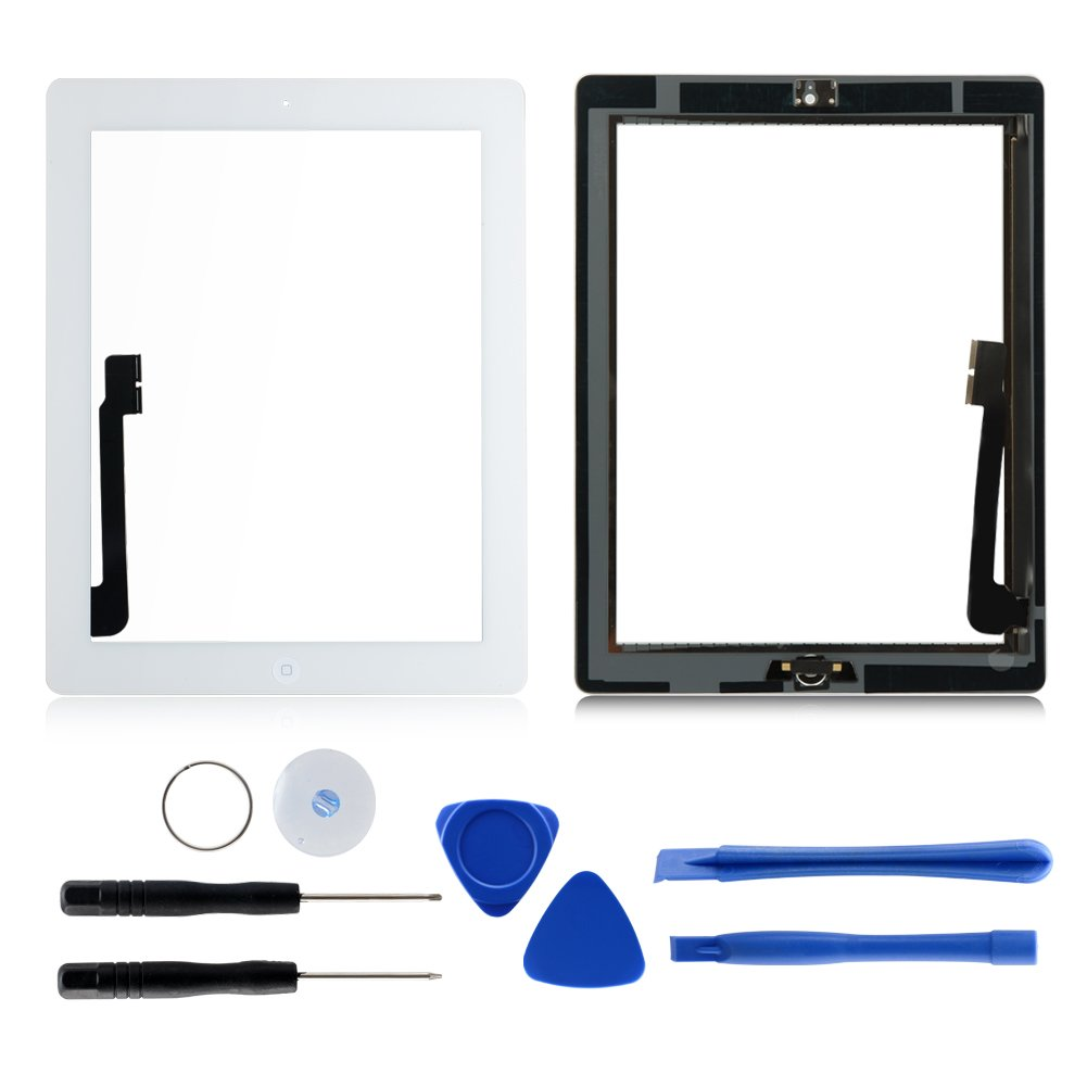 Touch Screen Digitizer Replacement for iPad 3 A1403 A1430 A1416(White),Front Glass Repair Kits with Home Button + profession Pre-adhesive installed + 7picecs Professional Tools kits