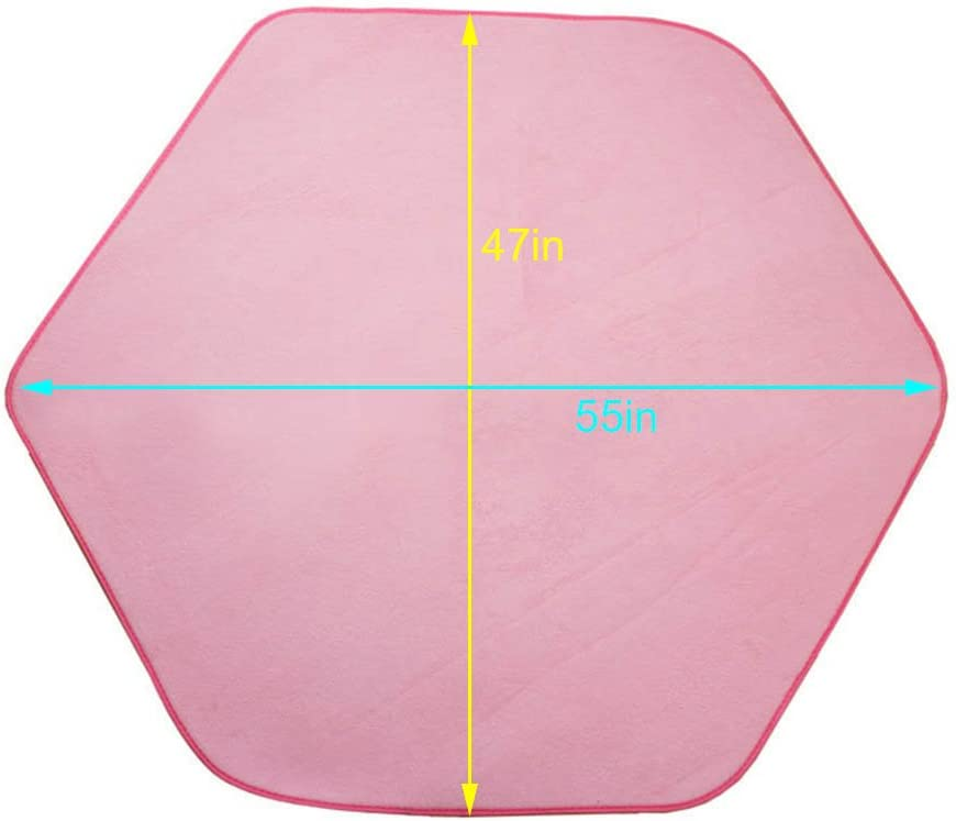 ITOY/&IGAME Playhouse Mat Pink Hexagonal Kids Tent Mat Soft Coral Playhouse Mat 55x47in Coral Carpet for Kids Tent Playhouse Indoor Outdoor Fun
