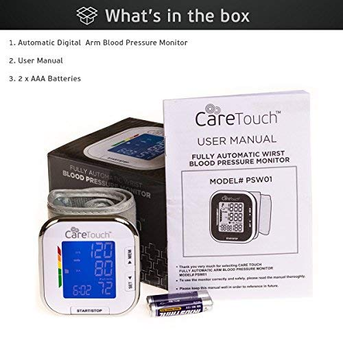 "51BwlEI6DaL - Care Touch Fully Automatic Wrist Blood Pressure Cuff Monitor - Platinum Series, 5.5"" - 8.5"" Cuff Size- Batteries Included"