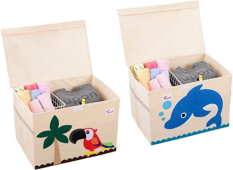 SITAKE Conjunto de 2 Caja de Almacenamiento para Niños - Caja de Juguetes y Almacenamiento - Caja y Armario Organizador para niños (52 x 36 x 35,5 cm, Loro y Delfín): Amazon.es: Hogar