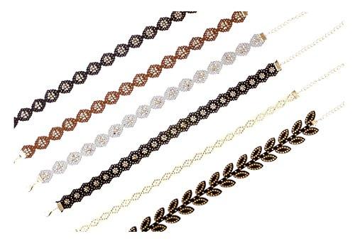Trifari White Brooch (RuFNTop 6 Set Choker Necklaces for Women Girls Black Velvet Tattoo Choker Collar Lace Vintage Adjustable P SET : 6 PCS)