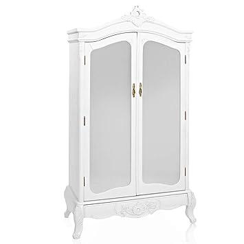 Kleiderschrank weiß barock  Kleiderschrank Barock mit Spiegel und Schublade 2-türig weiß ...