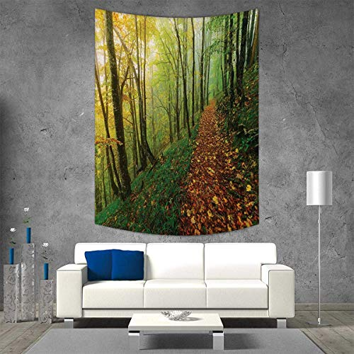 smallbeefly National Parks Tapestry Table Cover Bedspread Beach Towel Surreal Foggy View Deep in The Forest Eco Path Full Leaves Landscape Dorm Decor Beach Blanket 70W x 93L INCH Green Yellow