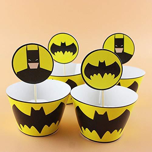 24pc Batman Cupcake Topper and Cupcake Wrapper Picks Boy Children Superhero Party Decoration Kid's Birthday Avengers Party Decoration Supplies