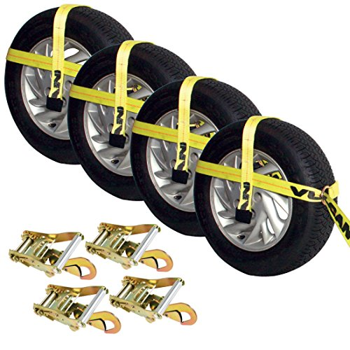 Vulcan Classic Yellow Adjustable Loop Car Tie Down Kit With Snap Hooks (Complete Kit Includes 4 Straps And 4 ()