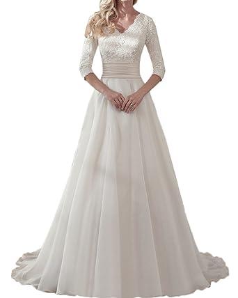 Royaldress Elfenbein Langarm Spitze Hochzeitskleider Brautkleider