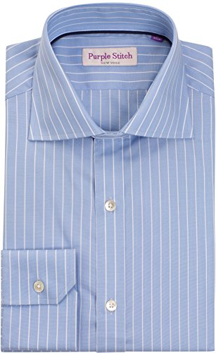 (Designer Blue Bankers Stripe Dress Shirt - Slim Fit, Long Sleeves, Button Down w/ Pearl Buttons and Collar Stays - 100% Italian Cotton,16,Blue Pinstripe )