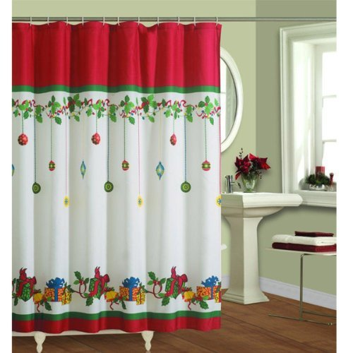 Festive Holiday design shower curtain with gifts baubles pattern