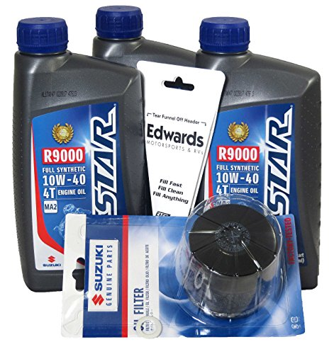 [Suzuki OEM Oil Change Kit 3 Quarts Full Synthetic GSXR SV650 King Quad] (Oem Full Kit)