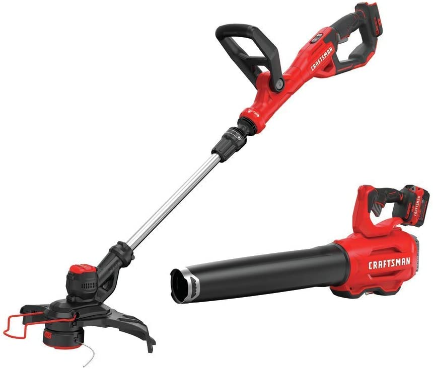 CRAFTSMAN V20 String Trimmer and Blower Combo Kit (CMCK297M1),Red