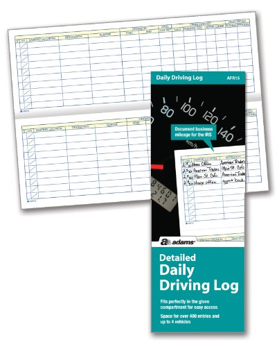 Mileage Expense Log - Adams Detailed Daily Driving Log, 400 Entries, 9 x 3.25 Inches, Multi-Color (AFR15)