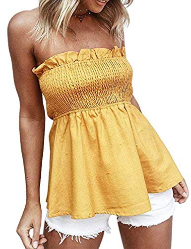 KAMISSY Women's Smocked Tank Top Strapless Frill Trim Tube Top (Large, - Top Cotton Frill