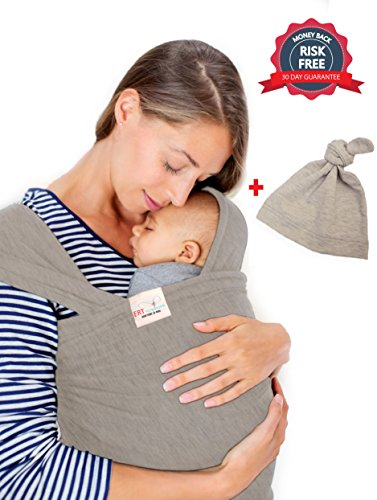 Baby-Sling-Wrap-Carrier-by-ERT-Grey-Baby-Hat-Included