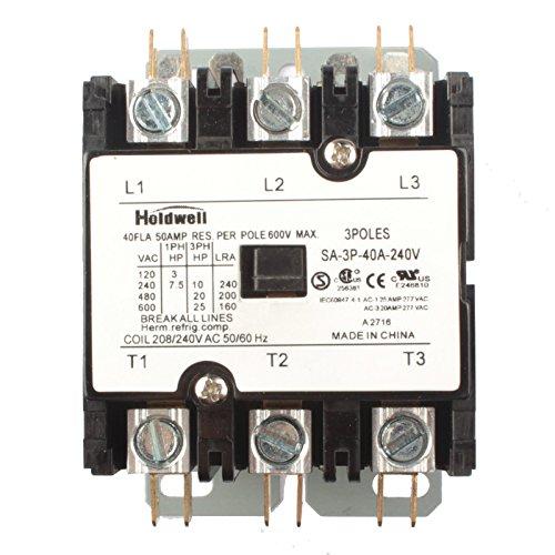 Holdwell SA-3P-40A-240V 3 Pole 40 Amp 240V Coil Definite Purpose Contactor