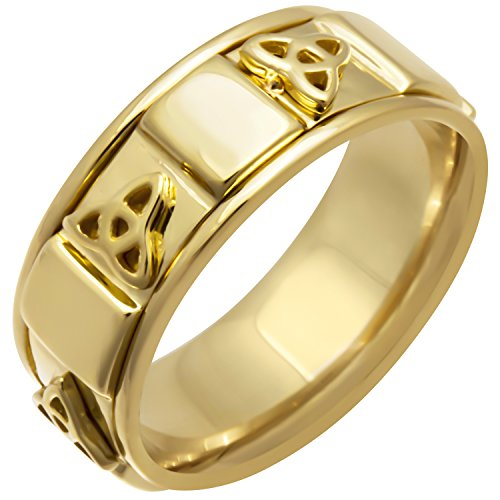(14k Yellow Gold Celtic Triskele Women's Comfort-fit Wedding Bands (8mm))