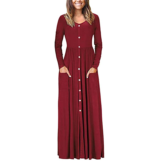 Xavigio Women Dress! Women s Button Down Ankle Length Dress Solid Long Sleeve  Plus Size Casual Loose Dress (S-XXL) at Amazon Women s Clothing store  5331fdae4c1b