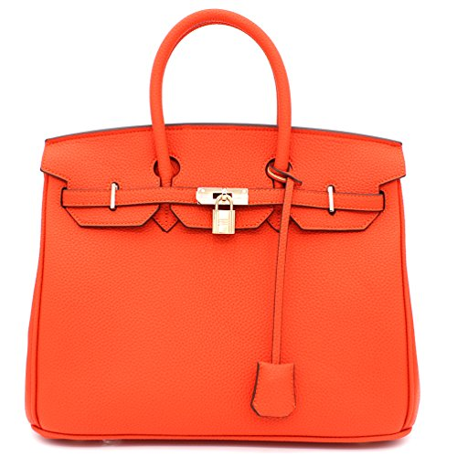Designer Inspired Fashion Satchel Top-Handle Handbag With Padlock ()