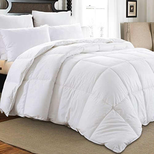 downluxe All Seasons White Down Comforter Twin Size Down Duvet Inserts, 350TC 600 Fill Power 100% Cotton Shell Down Proof With Tabs,Down Duvet Inserts or Stand-Alone Down Comforter