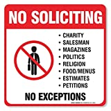 """(4 Pack) No Soliciting Sign""""5½ X 5½"""" 4 Mil Sleek Vinyl Decal Stickers Weather Resistant Long Lasting UV Protected and Waterproof Made in USA by SIGO SIGNS"""