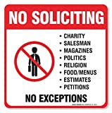 (4 Pack) No Soliciting Sign - Decal Self Adhesive '5½ X 5½' 4 Mil Vinyl Decal - Indoor & Outdoor Use - UV Protected & Waterproof - Sleek, Rounded Corners - Deters Solicitors