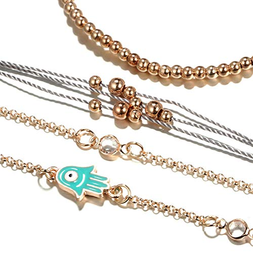 Affiry Handmade Braided Rope Bracelets Waterproof Wax Coated Bracelet for Women Adjustable Link Chain Beaded Boho Charms Bracelets for Girls