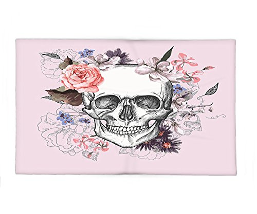 Interestlee Fleece Throw Blanket Skulls Decorations Collection Skull and Blooms Catholic Popular Ceremony Celebrating Artistic Vintage Design Soft Salmon White by Interestlee