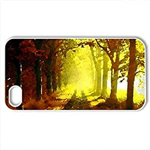 Autumn morning in the forest - Case Cover for iPhone 4 and 4s (Forests Series, Watercolor style, White)