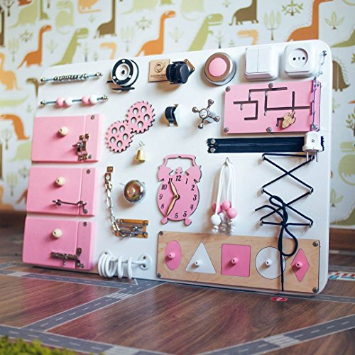 Shafa-3 Handmade Wooden Busy board, Clever Puzzles, Locks and Latches Activity Board European quality (White + Pink) by MebliLine