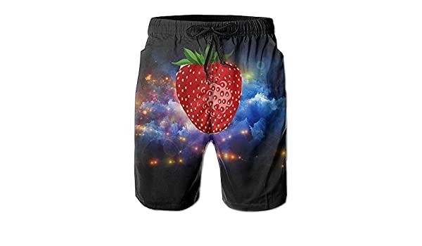 Design Strawberry Funny Logo Pattern Shorts For Man Elastic Waist Pockets Lightweight Beach Shorts Boardshort
