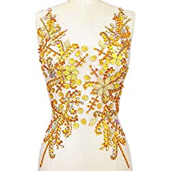 Gold Hand Made Beaded Sequins Crystals Rhinestones Patch