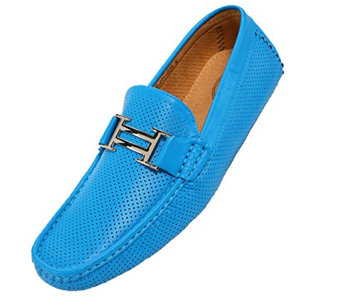 Turquoise Perforated Men's Driving Harry Loafers Casual Moccasin Smooth Driver Amali Shoe Style aP5nq5
