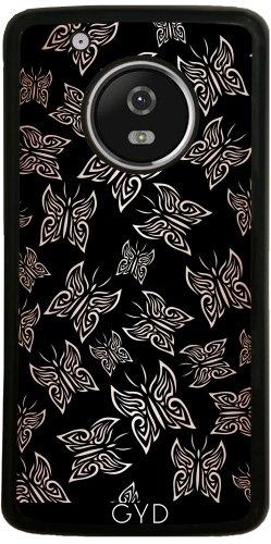 Funda de silicona para Moto G5 Plus - Mariposas Aumentaron Negro Oro by Nina Baydur