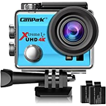 Campark ACT74 Action Camera 4K WiFi Waterproof Sports Camera 170 Degree Ultra Wide-Angle Len with 2 Pcs Rechargeable Batteries and Helmet Accessories Kits(Blue)