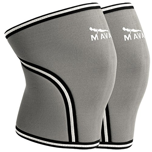 Mava Knee Sleeves Recommended for Powerlifting, Cross Training, Gym Workouts, Weight Lifting & Fitness Activity - Support Without Stiffness - Built to Last - Pair (Get Best Heated Gloves compare prices)