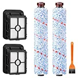 MUIFA Gentle Clean 2 Packs Multi Surface 1868 Brush Roll and 2 Packs 1866 Vacuum Filter Compatible with Bissell CrossWave Replaces Part 1608683, 160-8683, 1608684