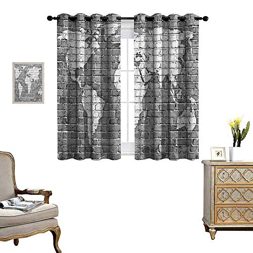 Drape for Glass Door World Map on Old Brick Wall Construction Grunge Antique Stained Abstract Waterproof Window Curtain W55 x L63 Pale Grey White ()