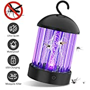 #LightningDeal PRANITE BK001 Bug Zapper Electronic Mosquito Killer with Effective 2000V UV Light Non Toxic Insect Control 2-in-1 Attractant Trap Rechargeable Fly, Black