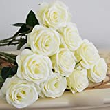 Artificial Silk Fake Real Touch Rose Flower Stem for Wedding Party Decoration White