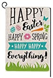 Happy Easter Garden Flag Vertical Double Sided 12.5 x 18 Inch Sping Burlap Yard Outdoor Decor