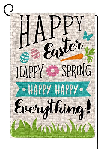 Happy Easter Garden Flag Vertical Double Sided 12.5 x 18 Inch Sping Burlap Yard Outdoor Decor -