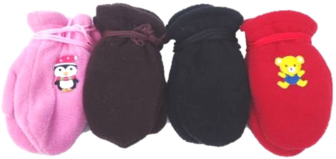 Four Pairs of Mongolian Fleece Mittens for Infants Ages 3-12 Months