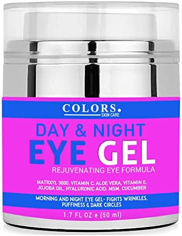 Day And Night Eye Gel Cream for Appearance of Dark Circles, Puffiness, Wrinkles,Bags. - Gel for Under and Around Eyes and Neck. Vitamins C, E, Jojoba, Cucumber, Hyaluronic Acid, Collagen. 1.7 FL OZ