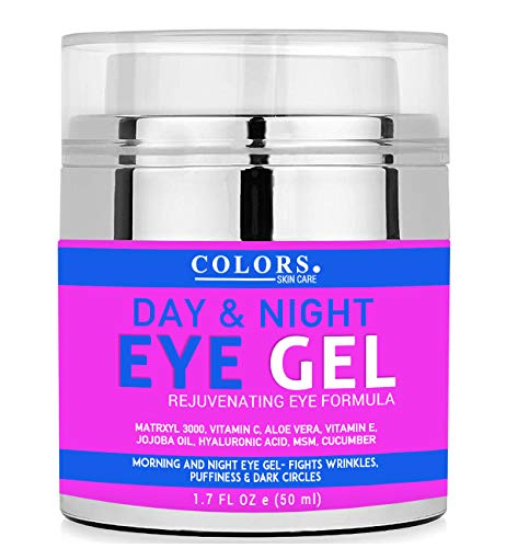 Day And Night Eye Gel Cream for Appearance of Dark Circles, Puffiness, Wrinkles and Bags. - for Under and Around Eyes. Added Vitamins C, E, Jojoba, Hyaluronic Acid, Collagen And Cucumber -