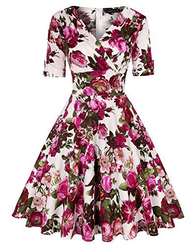 Women's Classy Vintage Floral Hepburn Style 1940's Rockabilly Evening Dress (Floral Fuchsia,Size - Spandex Vintage