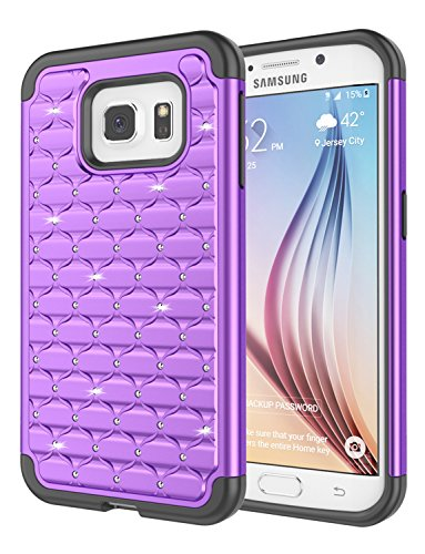 Galaxy S6 Edge Case, Jeylly [Diamond Star] Hybrid Rubber Plastic Shock Absorbing Studded Rhinestone Crystal Bling Armor Defender Rugged Case Cover for Samsung Galaxy S6 Edge S VI Edge G925 - Purple