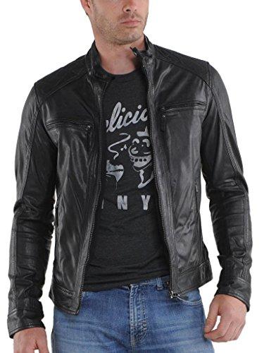 Moto Outwear Giacca Biker Giacche Pelle Black In Da Auk024 Fit Uomo Cappotto Slim q1xF1Xz