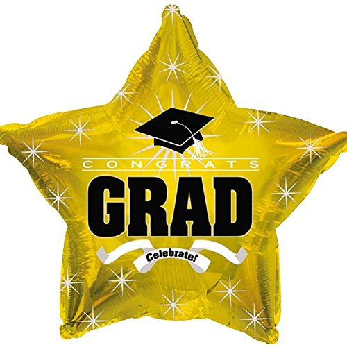 Star Shape Graduation Balloons School Colors - 5 Count (Gold Star)]()