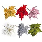Nuxn-6pcs-Silk-Poinsettias-Artificial-Christmas-Flowers-Glitter-Poinsettia-Christmas-Tree-Ornaments-Artificial-Wedding-Christmas-Tree-Flower-Wreath-Decorations-Picks-White